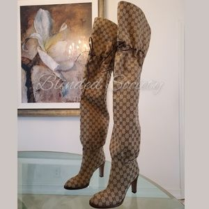 Gucci GG Supreme Over The Knee Boots Beige Canvas